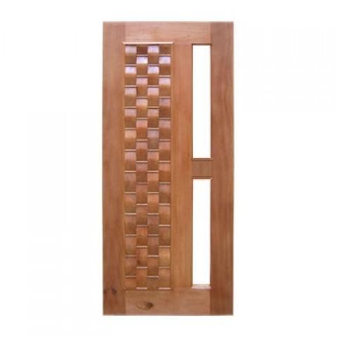 Porta Pivotante Couro para Vidro